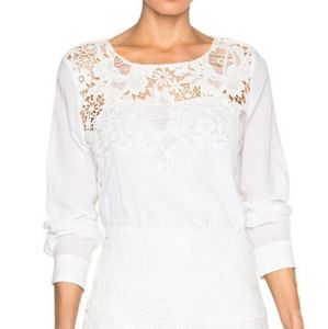 See by Chloe Cloud Dancer Lace Long Sleeve Top